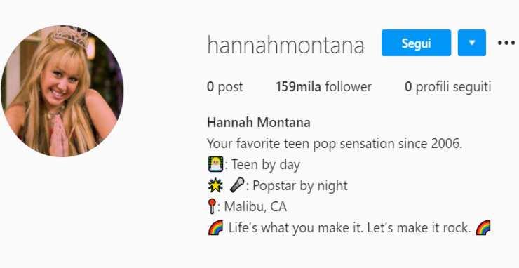 Account @hannahmontana - Fonte: Instagram