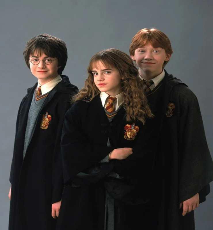 Da sinistra: Daniel Radcliffe, Emma Watson e Rupert Grint in Harry Potter - Fonte: Instagram