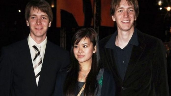 Katie Leung con James e Oliver Phelps