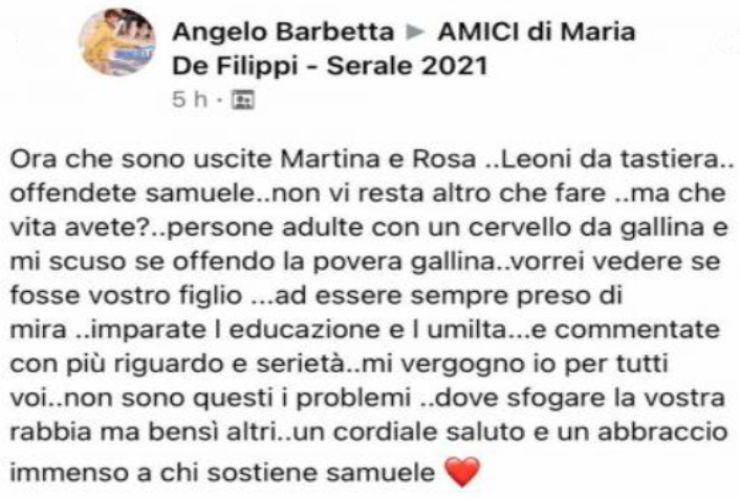Post del Signor Angelo Barbetta - Fonte: Facebook