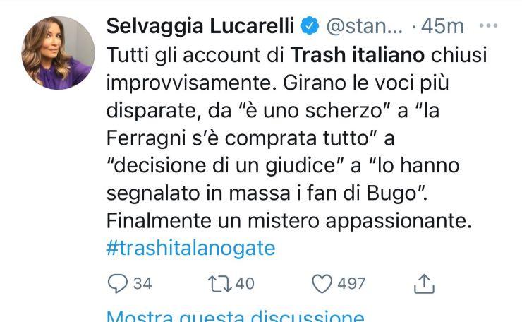 Tweet di Selvaggia Lucarelli, Fonte: Twitter
