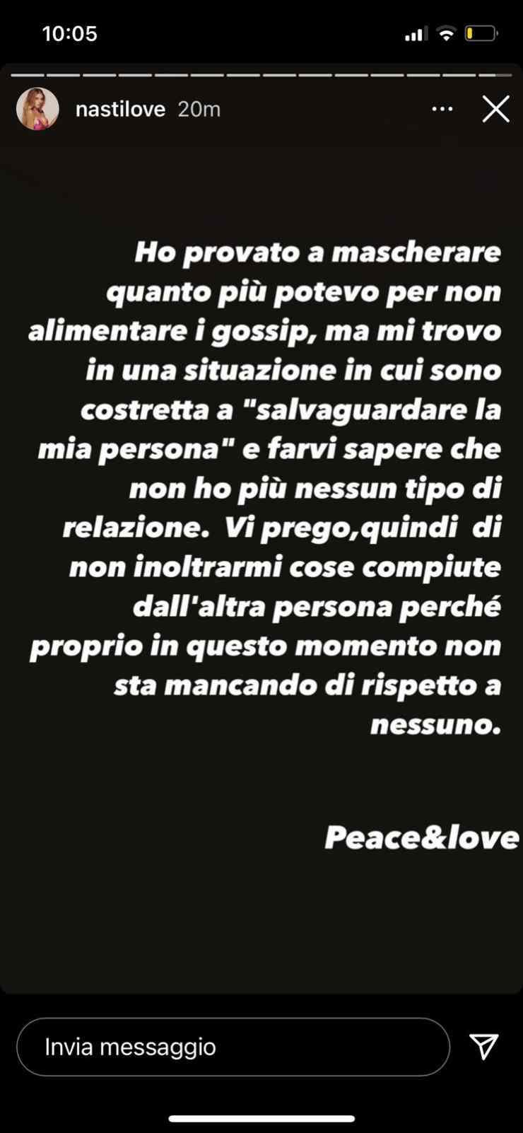 Chiara Nasti post: Fonte: Instagram